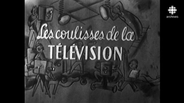 Titre du générique d'ouverture du documentaire Les coulisses de la télévision sur un dessin d'une équipe de production en studio