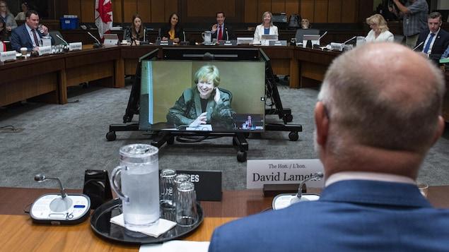 Kim Campbell s'exprimant par vidéoconférence face à David Lametti, vu de dos.