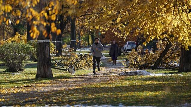 Un coureur et son chien sur le trottoir.