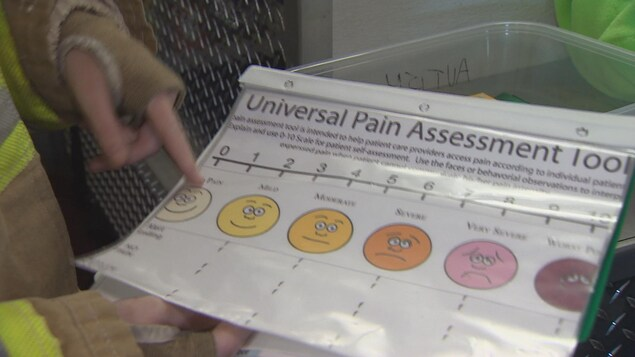 L'échelle de gradation de la douleur en pictogrammes élaborée par Courtney Mills, une pompière Asperger.