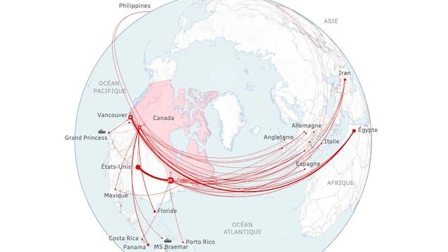 Une carte montrant d'où revenaient les premiers cas confirmés de la maladie au Canada.