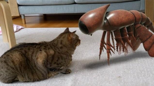 Une créature ressemblant à un homard fait face à un chat.