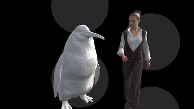 Représentation comparative de l'oiseau et d'une humaine.