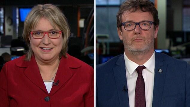 Un montage de deux images montrant une femme et un homme qui regardent droit devant eux. Les deux portent des lunettes.