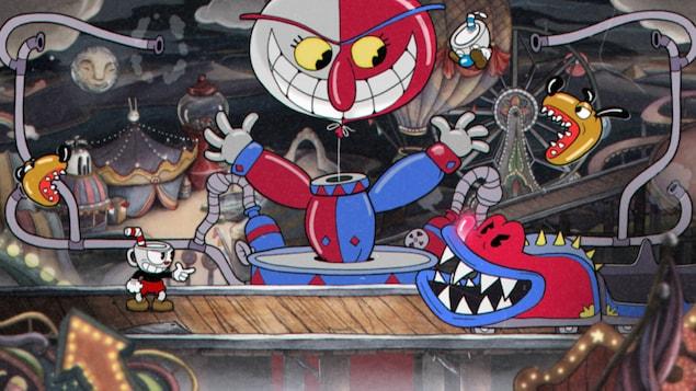 Une capture d'écran du jeu vidéo  Cuphead  montrant le petit personnage en train de combattre le train d'une montagne russe en forme de crocodile.