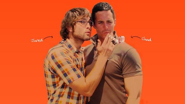 Une photo de Jared et de Chad Moldenhauer sur un fond orange.