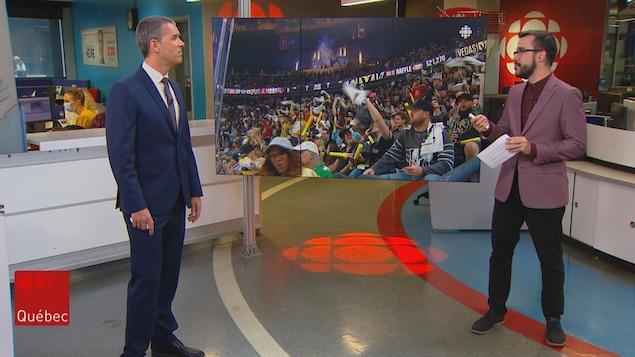 Olivier Lemieux et Jean-François Blanchet sur le plateau du Téléjournal Québec.