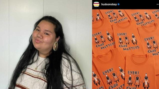 Dani Lanouette et une image montrant des chandails oranges, tirée du compte Instagram de La baie