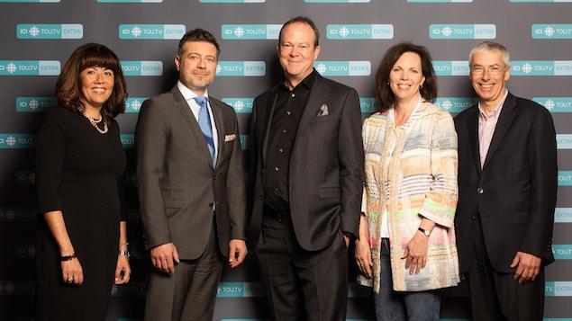 Dany Meloul (Bell Média), Dimitri Gourdin (Groupe V Média), Michel Bissonnette (Radio-Canada), Marie-Philippe Bouchard (TV5 Québec Canada) et Claude Joli-Cœur (ONF)