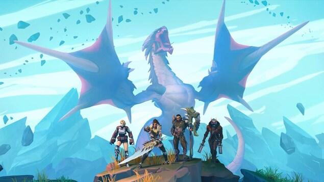 Des personnages en habit de combat sur une colline avec un fond bleu et un immense dragon en arrière-plan.