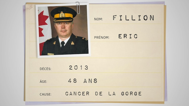 Fiche médicale avec les informations suivantes : Nom : Eric Fillion. Décès : 2013 Âge : 48 ans Cause : Cancer de la gorge.