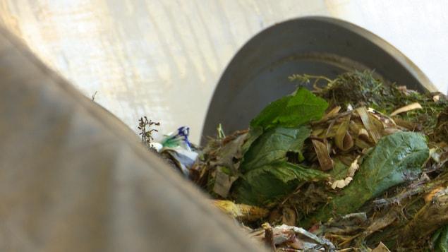 Des matières organiques sont broyées dans un équipement industriel