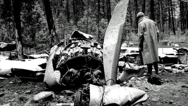 Une personne regarde la carcasse de l'avion.