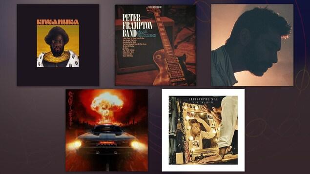 Montage de la pochette des cinq albums suggérés par Jean-François Côté.