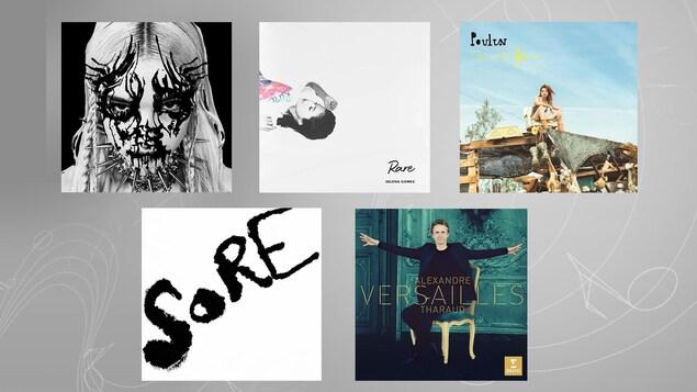 Montage des cinq albums suggérés cette semaine.
