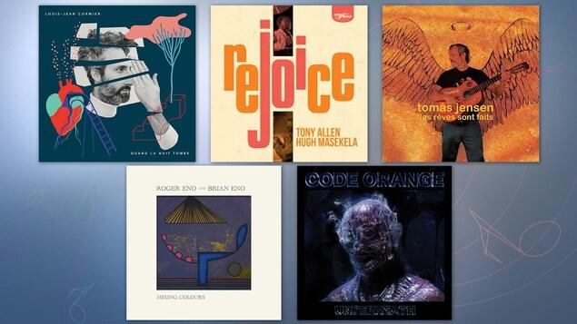 Montage des cinq albums suggérés par Jean-François Côté.