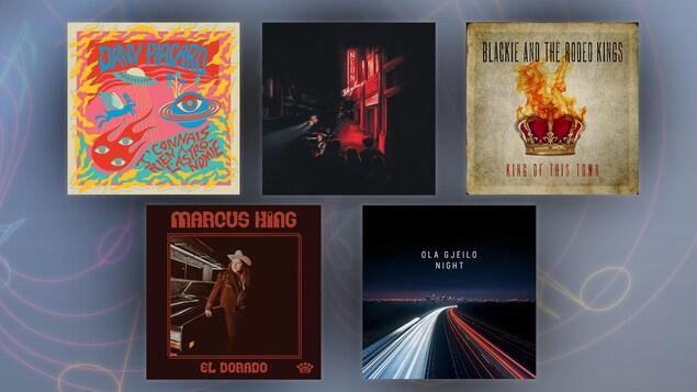 Montage de cinq pochettes d'albums.