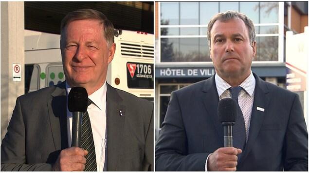 Un collage de deux images montrant deux hommes en veston-cravate qui semblent nous regarder droit dans les yeux. Tous deux tiennent un micro.