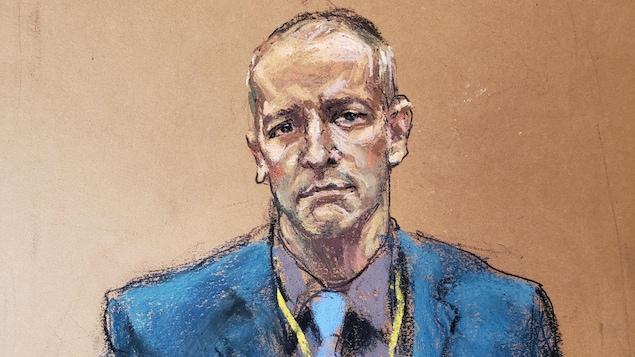 Illustration montrant Derek Chauvin pendant le procès.