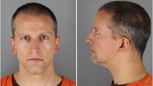 La photo judiciaire de Derek Chauvin, sur laquelle on le voit de face, puis de profil