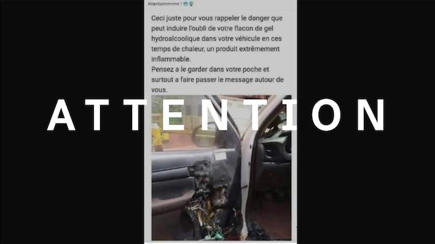 Capture d'écran tirée d'une publication Facebook évoquant le danger d'incendie lié à la présence de flacons de gel hydroalcoolique laissés dans un véhicule durant les périodes de grandes chaleurs.