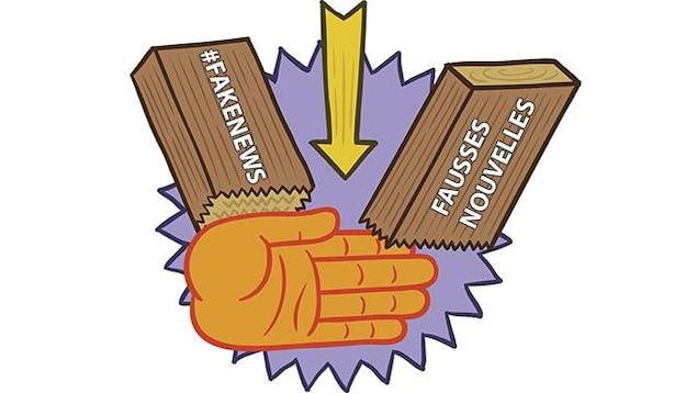 Illustration d'une main qui brise une planche de bois, comme dans les arts martiaux. Sur la planche, on peut lire «#FakeNews» et «Fausses nouvelles».