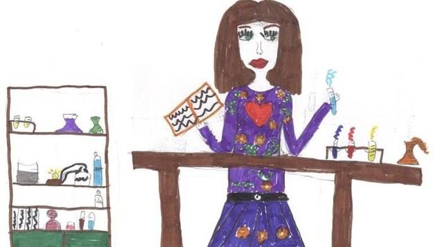 Le dessin d'une femme scientifique