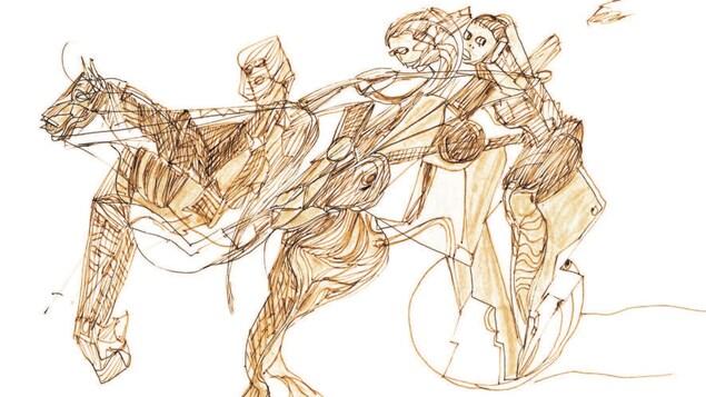 Un dessin de Miles Davis présenté au Centre d'art Diane-Dufresne repésente trois personnes et un cheval,.