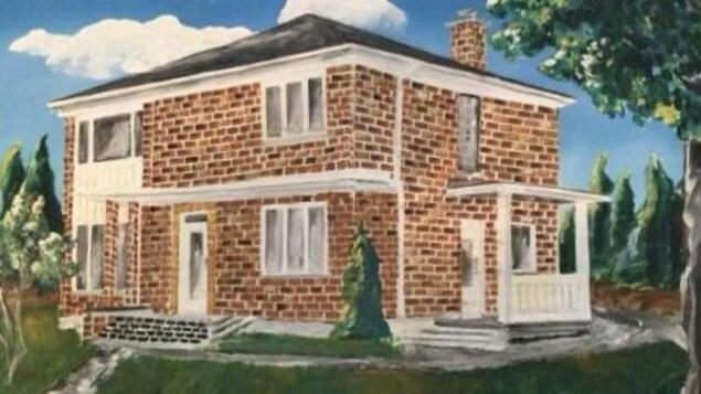 Reproduction d'une maison à étage en brique rouge