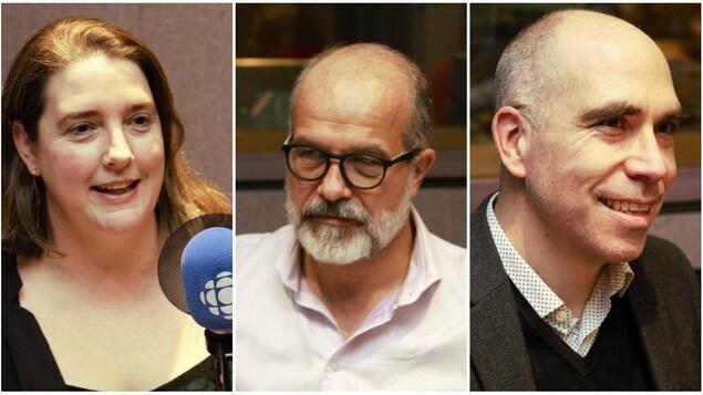 De gauche à droite : Laura-Julie Perreault, journaliste à La Presse +, Éric Bédard, historien et professeur à l'Université Téluq, et Jocelyn Maclure, professeur de philosophie à l'Université Laval