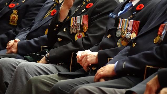 Des vétérants sont assis habillés de leurs habits militaires sur lesquels des médailles coquelicots sont mis en valeur.