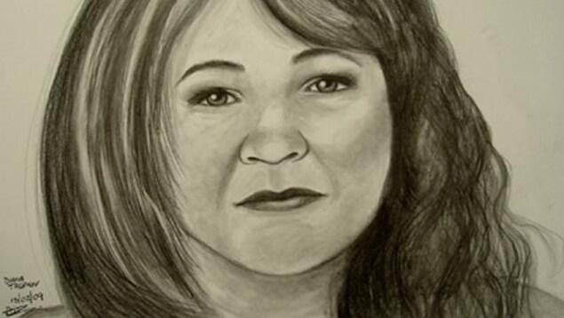 Dessin de Diane Prévost selon la portraitiste judiciaire Diana P. Trepkov