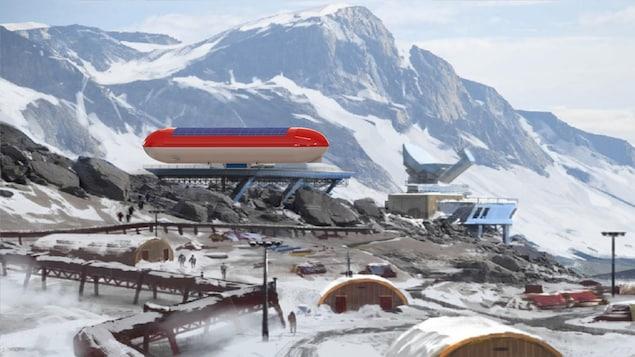 Une illustration d'un modèle de dirigeable rouge et blanc sur lequel se trouvent des panneaux solaires arrimés à une plateforme d'atterrissage dans un paysage nordique et montagneux.