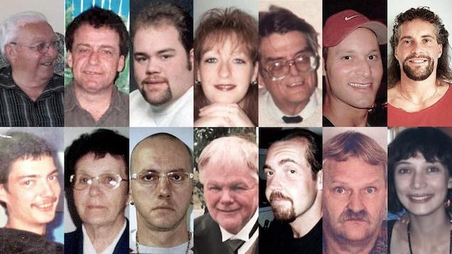 Visages de 14 des disparus.