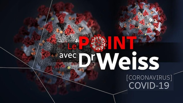 Illustration d'un virus avec la mention «Le point avec Dr Weiss».