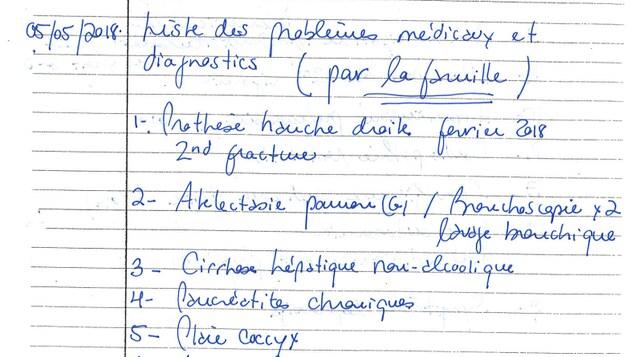 Un document médical avec des conditions de santé.