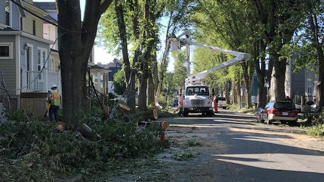 Un camion et des monteurs de ligne dans une rue d'Halifax jonchée de débris d'arbres.