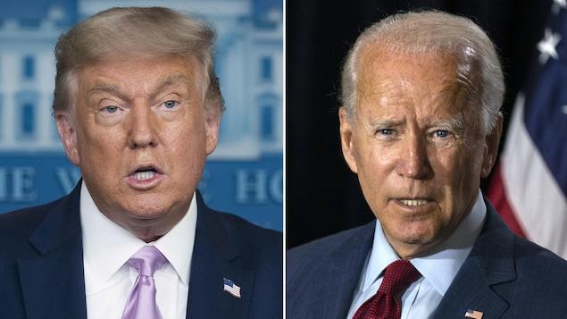 Les visages de Donald Trump et Joe Biden sont mis côte à côte.