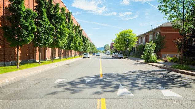 Une rue sur laquelle se trouve un ralentisseur.