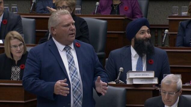 Le premier ministre de l'Ontario Doug Ford à l'Assemblée législative