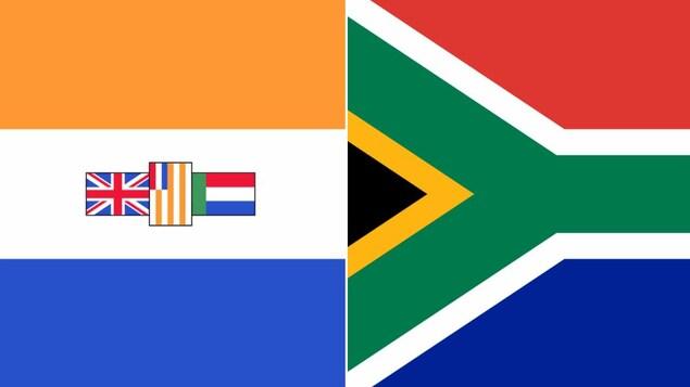 Montage présentant les deux drapeaux.