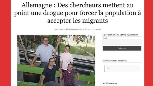 Capture d'écran d'un article du site Breizatao, qui affirme que «des chercheurs mettent au point une drogue pour forcer la population à accepter les migrants».