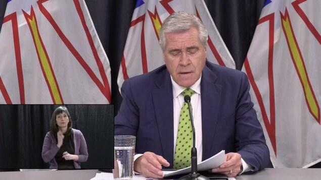 Portrait du premier ministre Dwight Ball lors du point de presse jeudi après-midi.