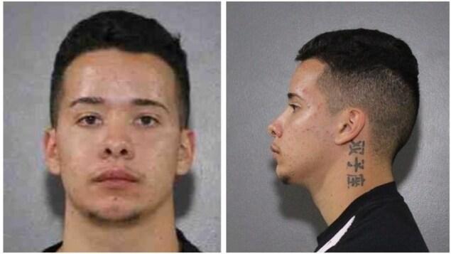 Deux photos portrait d'un même homme recherché au Canada pour meurtre. Il a les cheveux courts foncés et un tatouage affichant des caractères chinois sur le côté gauche de son cou.