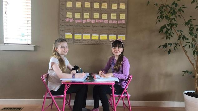 Deux filles sont assises à une petite table devant un grand tableau d'emploi du temps journalier.
