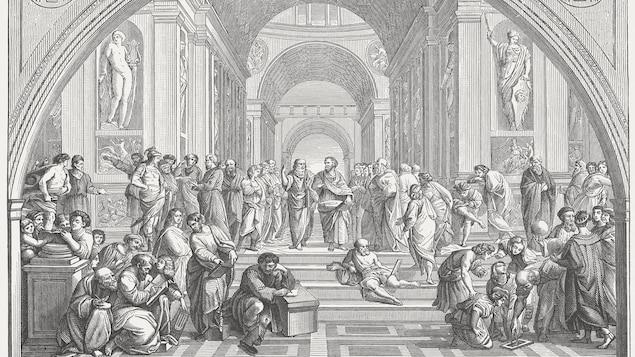 L'image, en noir et blanc, représentent les divers penseurs en discussion les uns avec les autres
