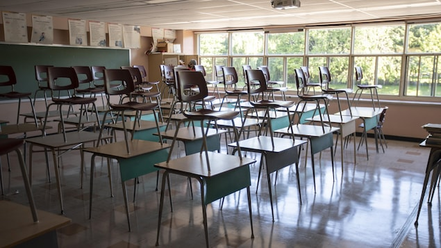 Une classe vide avec des chaises sur les bureaux.