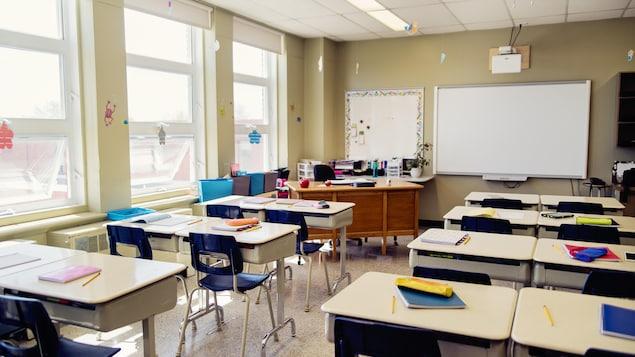 Une salle de classe vide.