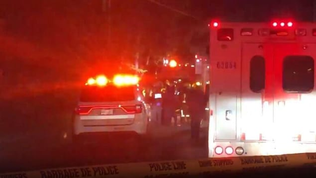 Une ambulance et une voiture de police, gyrophares en marche, en pleine nuit.