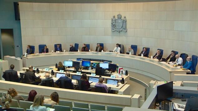 Les conseillers municipaux sont assis dans la salle du conseil, face à d'autres personnes.